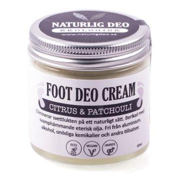 Naturlig Deo | FOOT DEO CREAM | Organic | Aluminiumvrij |Citrus & Patchouli
